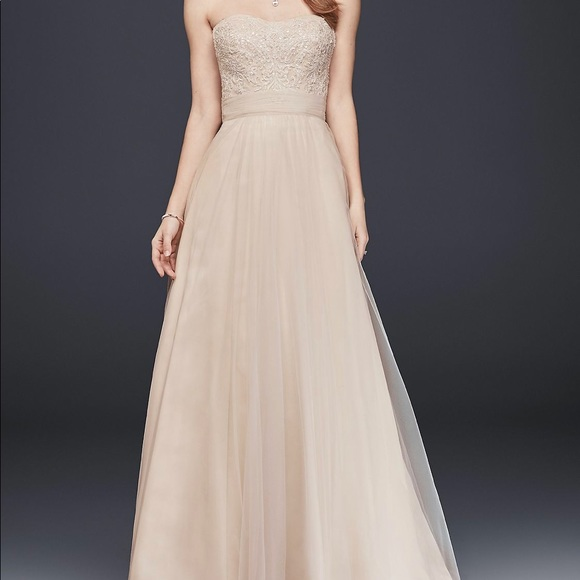 David\'s Bridal Dresses | Wedding Gown Beaded Bodice Tulle Aline ...